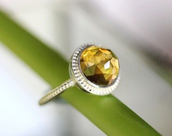Rose Cut Citrine Sterling Silver Ring, Gemstone Ring, Granulated Ring In No Nickel / Nickel Free - Made To Order