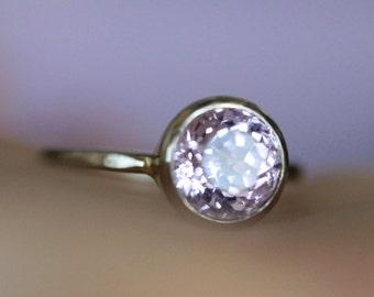 Kunzite 14K Palladium White Gold Engagement Ring, Gemstone Ring, Stacking RIng,  - Made to Order