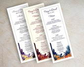 Wedding menu cards, printable wedding menus, diy wedding menus, wedding reception menu, tower menus, tea length menu, desert, cactus, Nevena