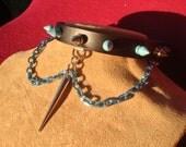 Light Blue Spiked Chain Collar