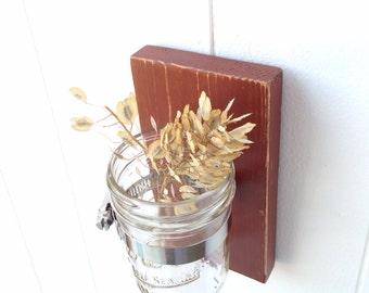 Wall sconce wood vase mason jar primitive country RUST - single vase
