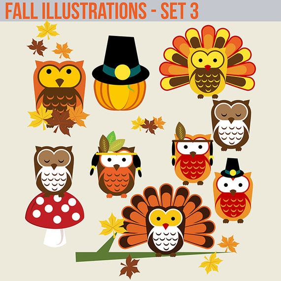 Holiday Fall Autumn thanksgiving turkey owl pumpkin clipart graphics set