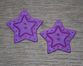 1 and 1/4 inch Large Star Buttons - OOAK Set of 2