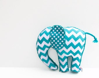Plush Elephant  Aqua Teal Chevron Nursery Decor Ready to Ship!