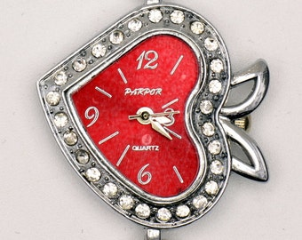 Red Heart Watch Face | Red Wrist Watch Face | Unique Watch Face | Rhinestone Watch Face | Red Watch Face | Ladies Watch Face - WF00144