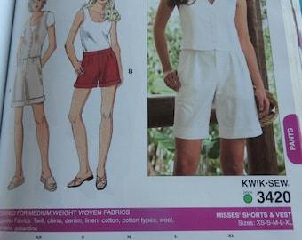 Kwik Sew 3420 Misses Shorts and Vest