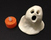 Halloween Ghost with Light, Hand-Built Ceramic Ghost, Ghost Light