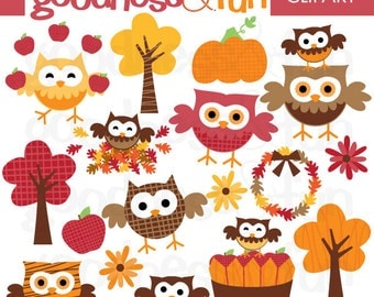 Buy 2, Get 1 FREE - Fall Owl Frolics - Digital Owl Clipart - Instant Download