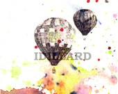 Hot Air Balloons Watercolor Painting Fine Art Poster Print Great Children Kids Wall Art Of Course Every Adventurer