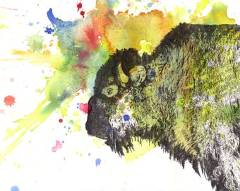 Buffalo Bison Animal Art Print From Original Watercolor Painting 8 x10 in Nursery Children Kids Wall Art Nursery Art Farmhouse Wall Decor
