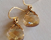 Champagne Petite Sparklers (handmade champagne crystal and gold vine earrings)