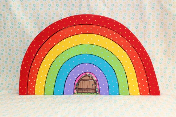 Large rainbow stacker with fairy door ready to ship by for Rainbow fairy door
