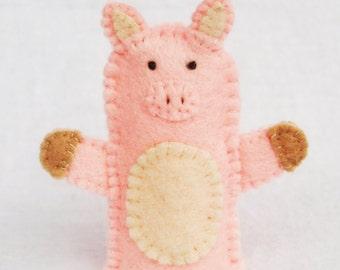 Felt finger puppet, pig, animal puppet, storytime puppet