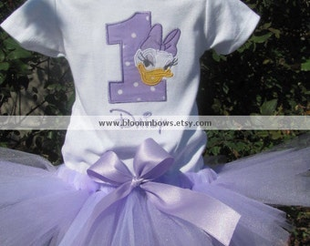 Daisy Duck Tutu Set in Light Purple and White.   Includes Tutu and Embroidered Top.