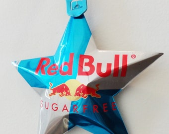 Red Bull Sugar Free, Blue Energy Star, Ornaments, Soda Can, Upcycled