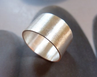 Sterling silver wide band ring, metalwork ring