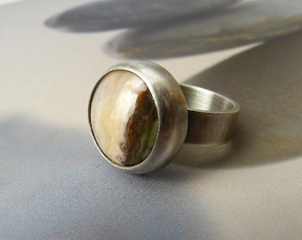 Jasper silver ring, handcrafted coctail ring, metalwork, OOAK statement ring, Christmas gift, birthday gift, gift for mother, present idea