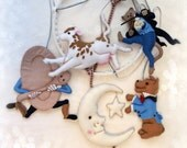 Nursery Mobile - Hey Diddle Diddle in blues with tan spotted cow