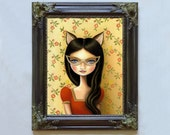 Library Masquerade print with custom frame pop surrealism by Marisol Spoon