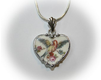 Broken China Jewelry Bluebird with Rose Swag Sweet and Petite Heart Pendant Necklace The Perfect Bridesmaid's Gift