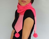 Knit Scarf Hot Pink Long Neckwarmer with Pom Pom Bow Tie Cozy Chunky Collar Scarf with Pompoms Made with Warm Honeysucle Pink Yarn. Handmade