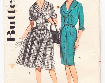 Vintage 1962 Butterick 2102 Sewing Pattern Misses' Front-Buttoned Dress Size 16 Bust 36