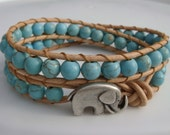 Turquoise Magnesite Beaded Leather Wrap Bracelet with Elephant Button