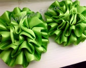 LIME GREEN Satin Flower Puffs x 2 - Supply Flowers, DIY Headband Flowers Spooky Halloween Crafts