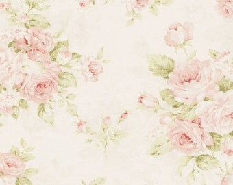 Mary Rose OOP and Rare  Cotton Fabric Roses on Cream MR1040-11B