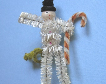 Vintage Chenille Christmas Ornament Snowman with Candy Cane