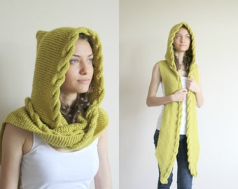 Apple Green  Wool Hooded Cabled  Long Scarf  Cowl gift Under USD100