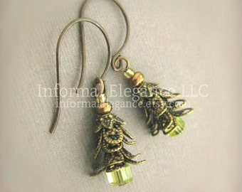 Brass Tree Earring with small Green Glass cubes, Christmas Earrings with Brass Ear Wires, E 218