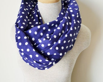READY TO SHIP - Polka Dot Scarf - Navy Blue and White