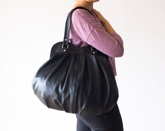 Black leather shoulder bag,large purse,hobo bag,pleated bag,spacious bag,everyday purse,black leather tote - Iris bag