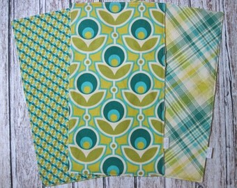 Set of 3 Burp Cloths, Boutique Style with Minky Back, Designer Joel Dewberry Notting Hill Fabrics, Modern Baby Design
