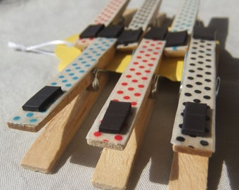 Polka Dot Madness Set of 6 Magnetic Clips, Fridge Magnets, Magnetic Clothes Pins, Refrigerator Magnets, Polka Dot Clothes Pins