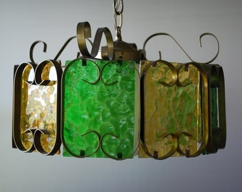 Vintage Retro Ten Panel  Hanging light - Mod -  Green and Gold Glass panels - Antiqued Brass Scroll Framework