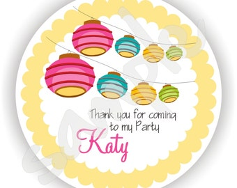 Lantern Theme - 40 Thank You 2 inch circle Stickers - Favor Tag - Baby Shower - Envelope Seal - Address Label - Personalized