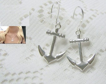 ANCHOR Earrings - Large Dimensional silver-plated anchors - Sorority Jewelry - nautical jewelry - Large Anchor Earrings - Sailing - Boating