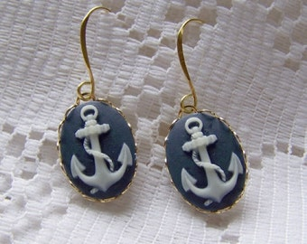 Gold ANCHOR EARRINGS - Navy and White French Wire Cameo - anchor jewelry - nautical - navy - sailor - nautical - sorority jewelry