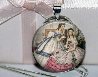 Southern Belles Pendant, Sisters, Pretty in Pink. Best Friends, Round Necklace, Antebellum Ladies, Godeys Fashion,  Art Pendant with chain