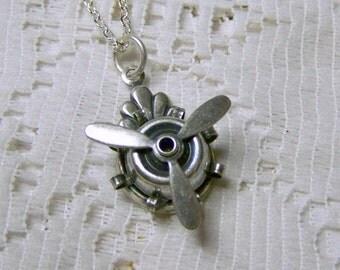 Steampunk Propeller Necklace - Silver - Punk Goth - Rotating Propeller - Sky Pilot Pendant