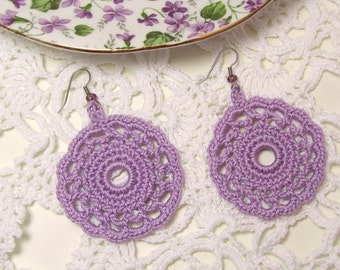 Lilac Lace Dangle Earrings Purple Lavender Glass Beads Crochet Doily Circle Jewelry Thread Art Round Motif