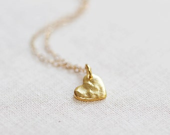 Tiny Gold Heart Necklace Hammered 24kt Gold Vermeil