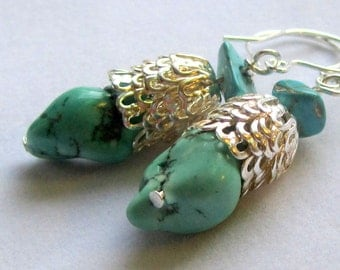Turquoise nugget and silver dangle earrings