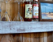 "Wet Bar Shelf - Reclaimed Wood - Whitewashed Gray - Floating - Wall Hanging - Farmhouse Chic - Shelves - 36"" Long x 10"" Deep x 4"" Tall"