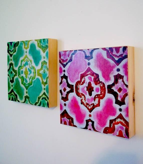 2 Beautiful Morrocan Art Panels, 8 x 8 x 1, HOME DECOR Set of 2 Original Art Prints on wood, Dorm Decor, Trellis Design, Mint and Magenta