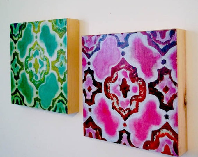 2 Beautiful Morrocan Art Panels, 8 x 8 x 1, HOME DECOR Set of 2 Original Art Prints on wood, Dorm Decor, Trellis Design, Mint and Magenta