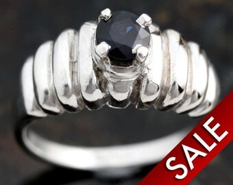Sapphire Ring, Silver Jewelry Sterling Silver Blue Sapphire Ladies Cast Ring Size 6 1/2