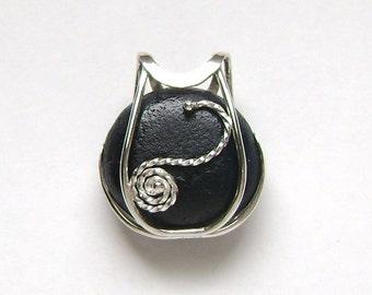 Sea Glass Jewelry - Sterling Caged Rare Black English Sea Glass Pendant